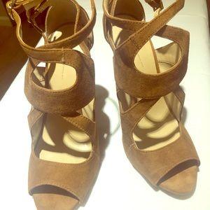 Zara Basic Suede Dual Strap Heels